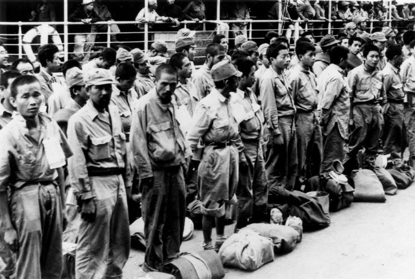 Japanese prisoners arriving at Brisbane from New Guinea, ca. 1945