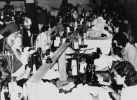Sewing machinists at work making underwear for the armed forces