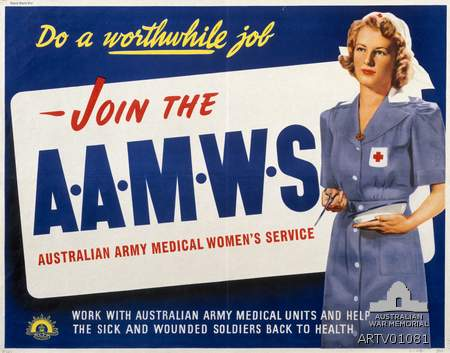 WW2 Recruitment poster for the Australian Army Medical women's Service