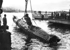 Sydney Harbour, NSW. 1942-06. A Japanese midget submarine recovered from Sydney Harbour