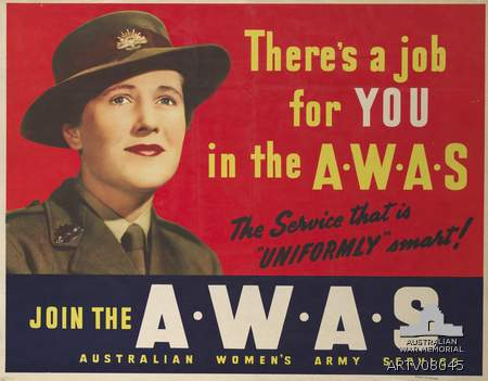 WW2 Recruitment poster to attract women to the Australian Women's Army Service