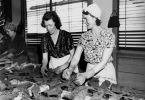 Volunteers working on camouflage nets, Brisbane, 1942