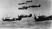 RAAF Wirraway aircraft flying in the formation pattern