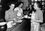 Serving tea at the community kitchen at Bardon, Brisbane, October 1942
