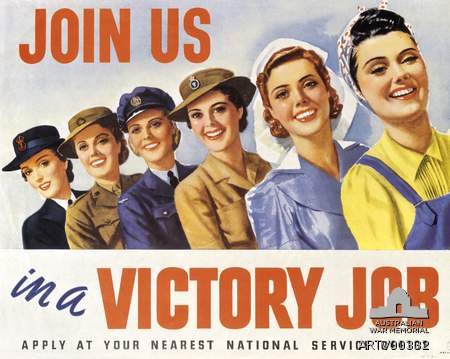 WW2 Recruitment poster to attract women to the services in support of the war