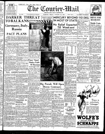 Cover of the Courier-Mail on Friday 26 January 1940