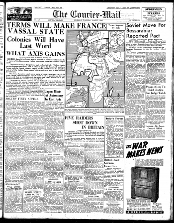 Cover of the Courier-Mail on Thursday 27 June 1940